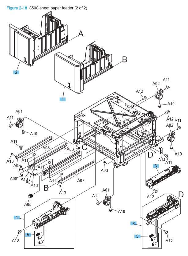 12) HP M806 M830 3500 sheet paper feeder 2 of 2 printer parts diagram