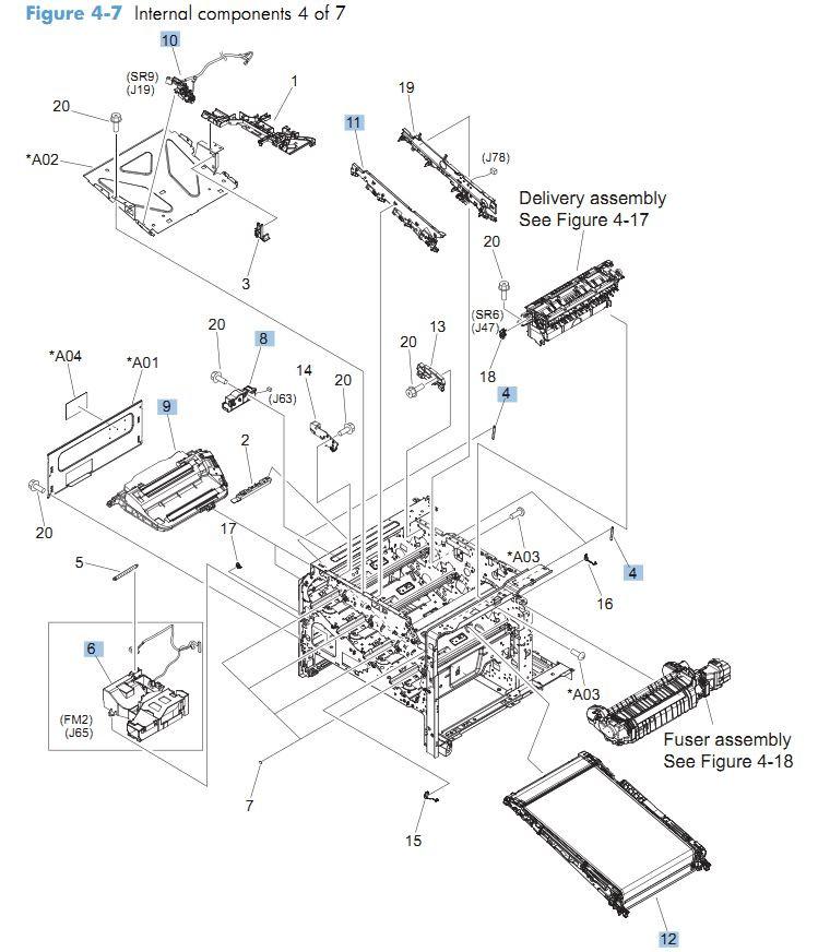 7. HP CM4540 Internal Components 4 of 7 printer parts diagram