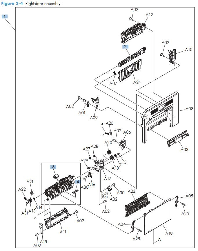 2. HP M570  Right door assembly printer parts diagram