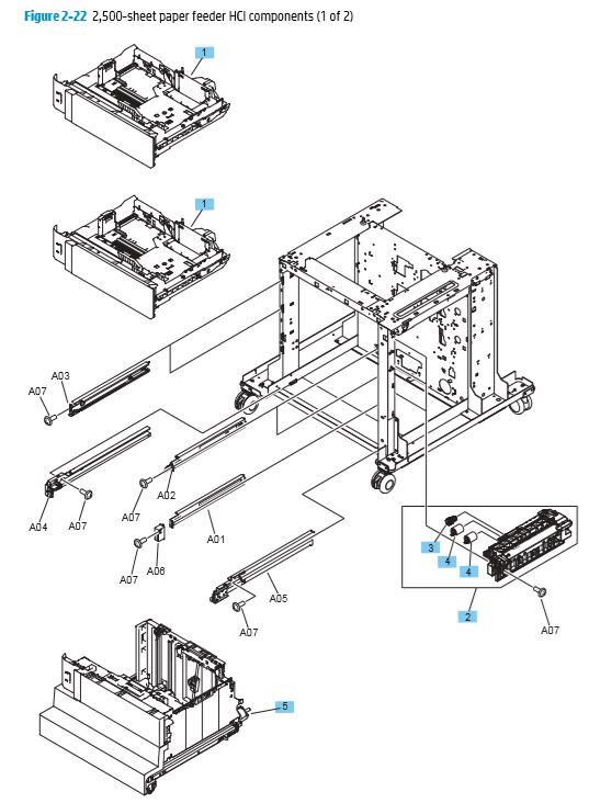 22. HP M680 M651 2,500 paper feeder HCI Covers High Capacity Input components printer parts diagram