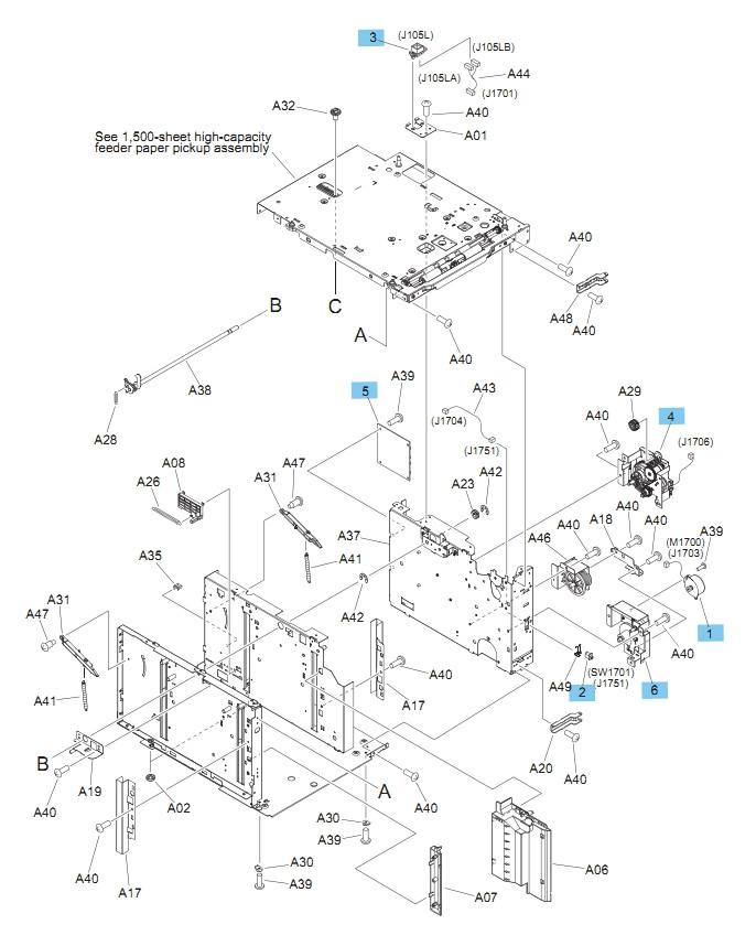 M604 M605 M606 Printers Part Diagram
