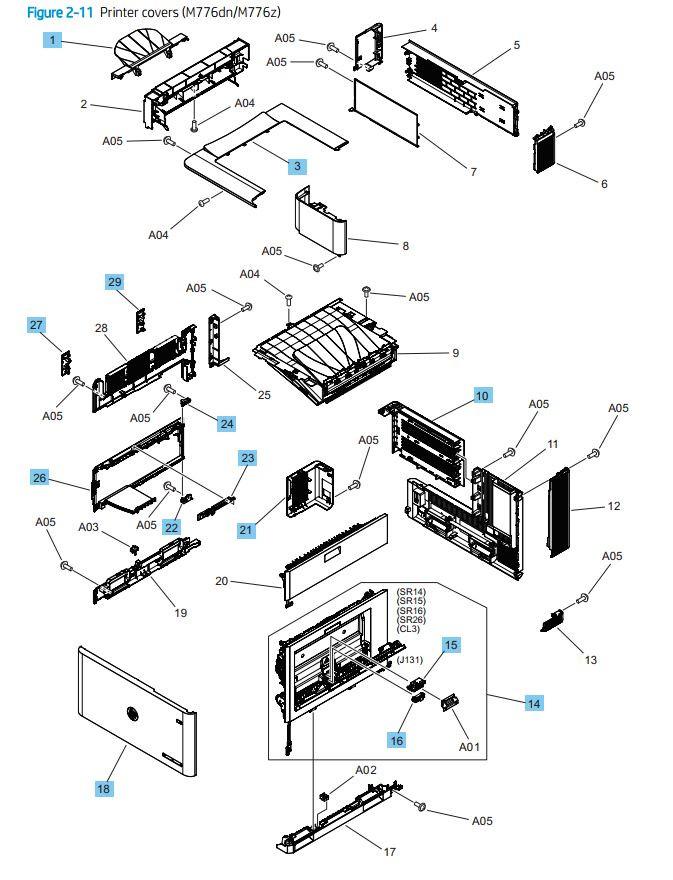 11. HP M776dn M776z Printer Covers printer parts diagram