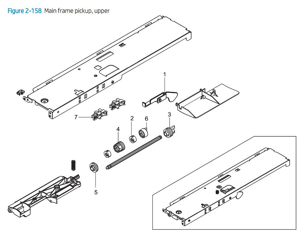 12. HP E77422 E77428 Main frame paper pick up upper assembly printer parts diagram