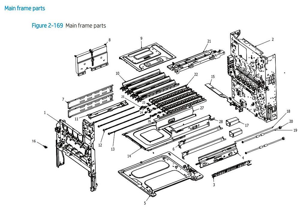 13. HP E77422 E77428 Main frame parts assembly printer parts diagram