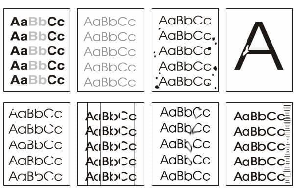 Visual chart of HP LaserJet print defects