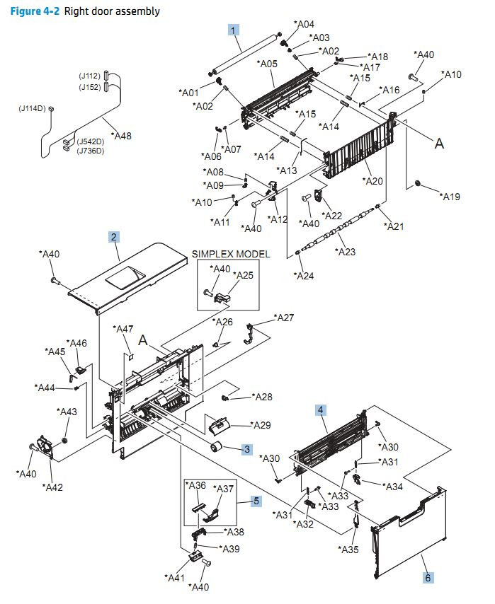 2. HP CP5525n Right door assembly printer parts diagram
