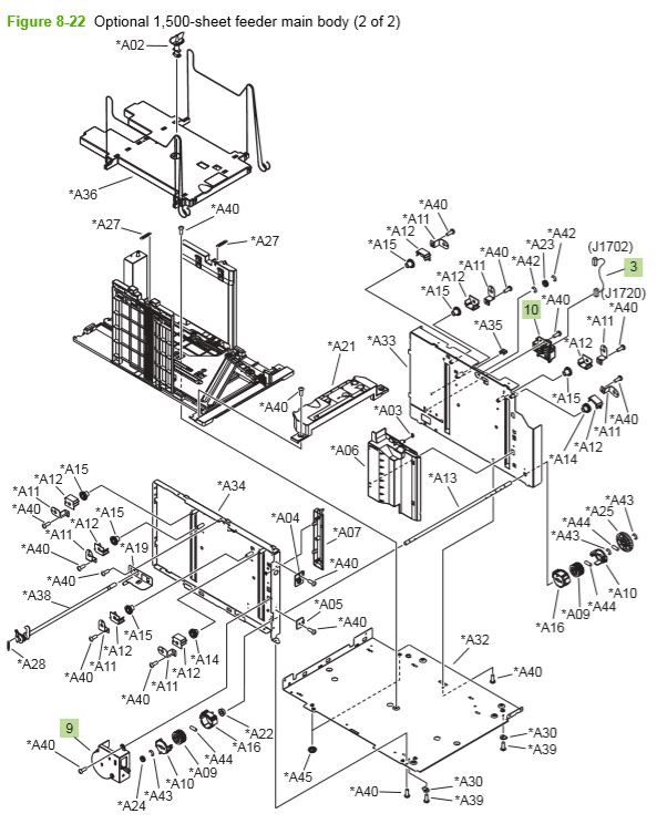 18) HP P4014 P4015 P4515 Optional 1500 sheet feeder main 2 of 2 body printer parts diagram