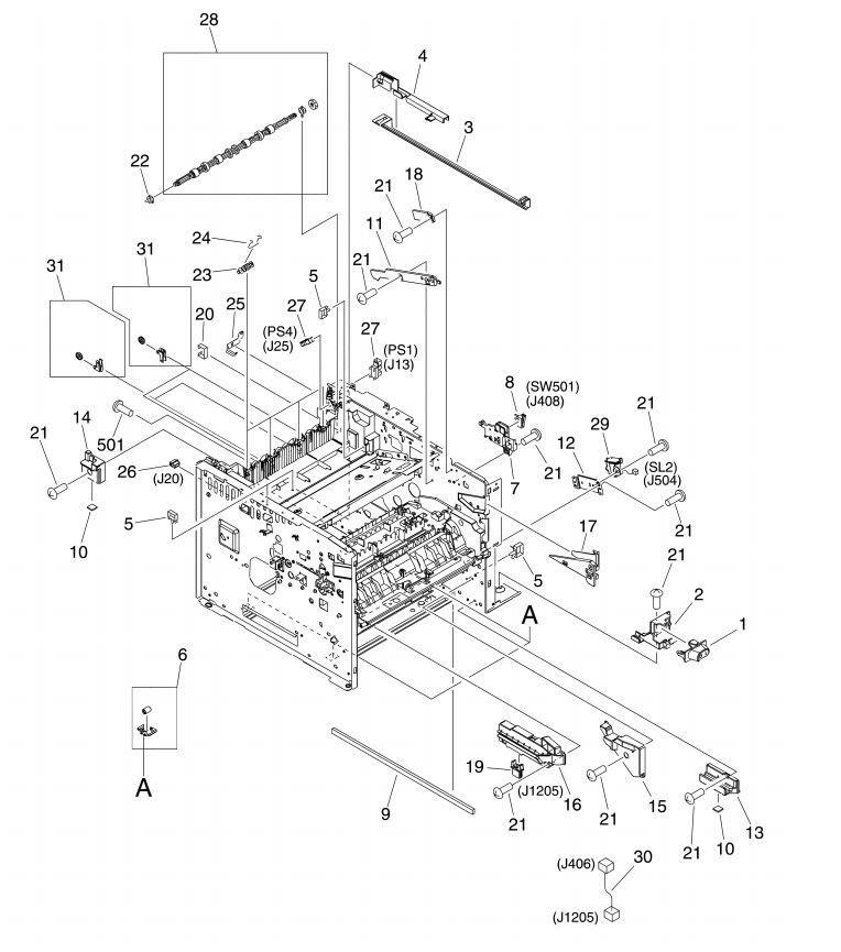 8. HP M3027 M3035 Internal assemblies 5 of 5 printer parts diagram