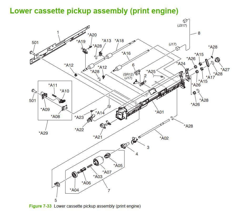 33. HP M5025 M5035 Lower Cassette pickup print engine printer part diagrams