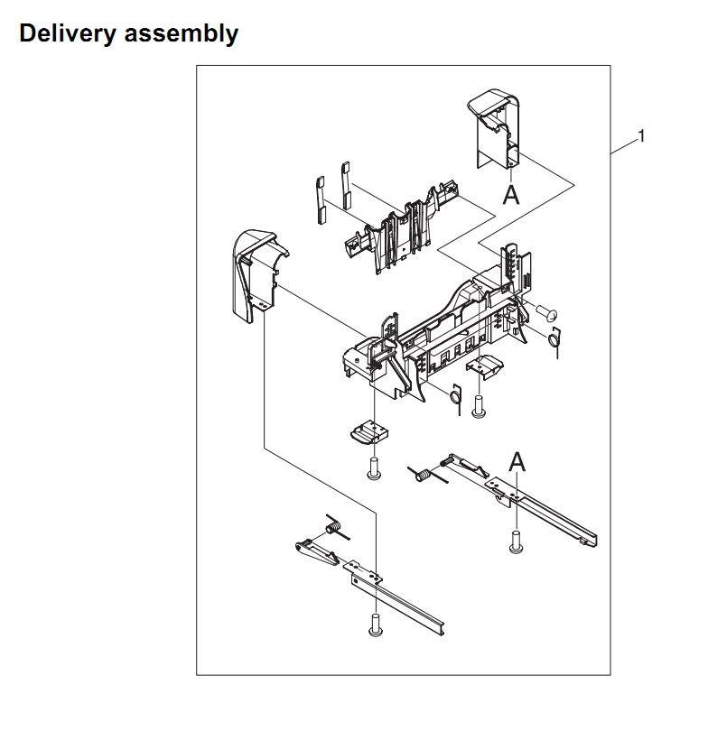 23. HP 4345 Q3942A 4345x Q3943A 4345xs Q3944A 4345xm Q3945A Delivery assembly Printer Part Diagrams