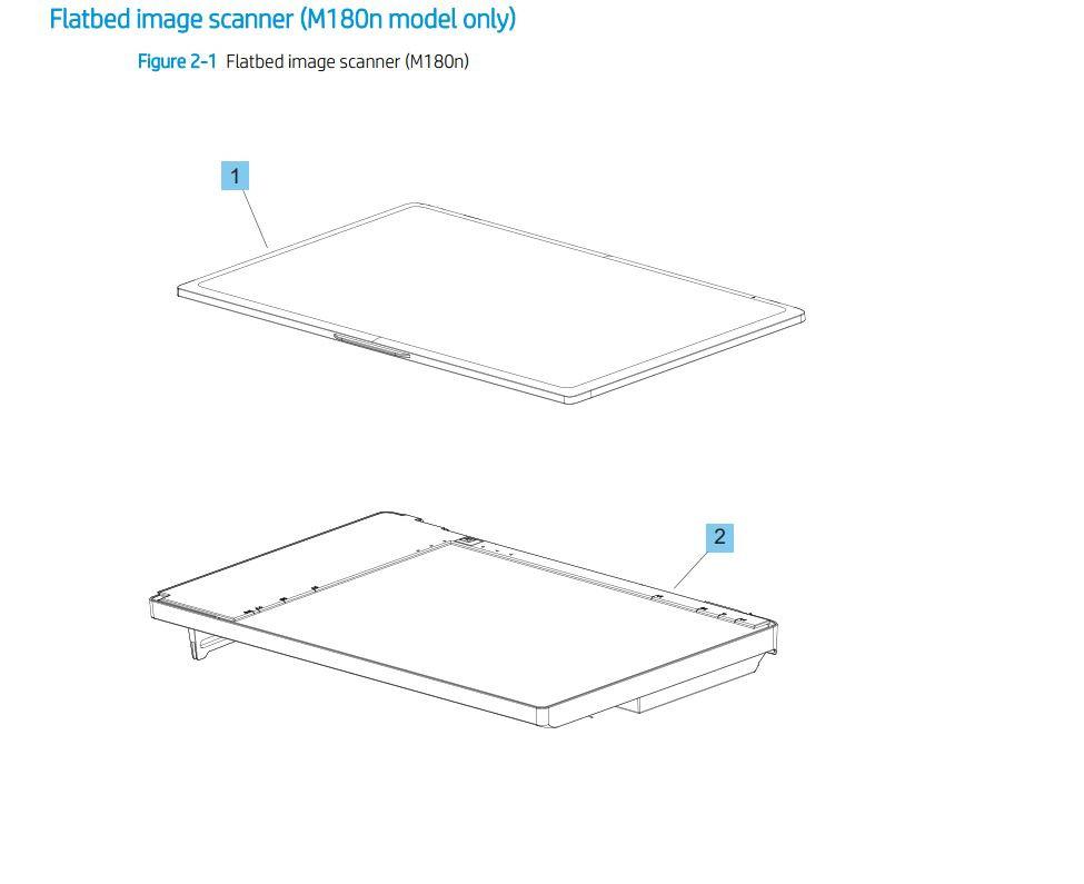 1. HP M180n Flatbed Image scanner assembly printer part diagrams