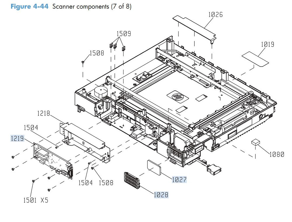 38. HP M4555 Scanner Components 7 of 8 printer parts diagram