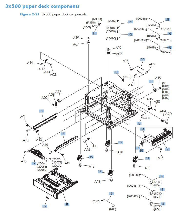 Hp M725 Laser Printer Parts Diagrams
