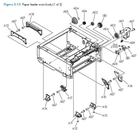 10. HP M401 M425 PCA Paper feeder main body 1 of 2 printer parts diagram