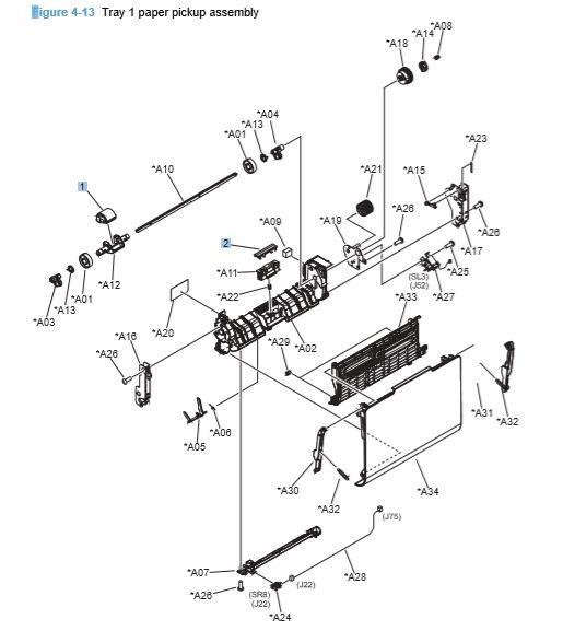13) HP CP4025 CP4525 Tray 1 Paper Pickup Assembly Printer Diagram