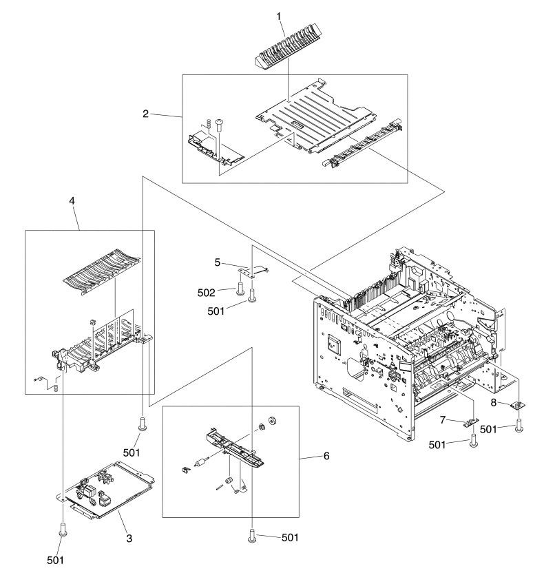 6. HP M3027 M3035 Internal assemblies 3 of 5 printer parts diagram