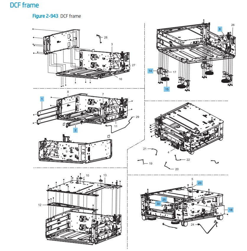 29. HP LaserJet E82540 E82550 E82560 DCF Paper Feeder frame Printer Parts Diagram