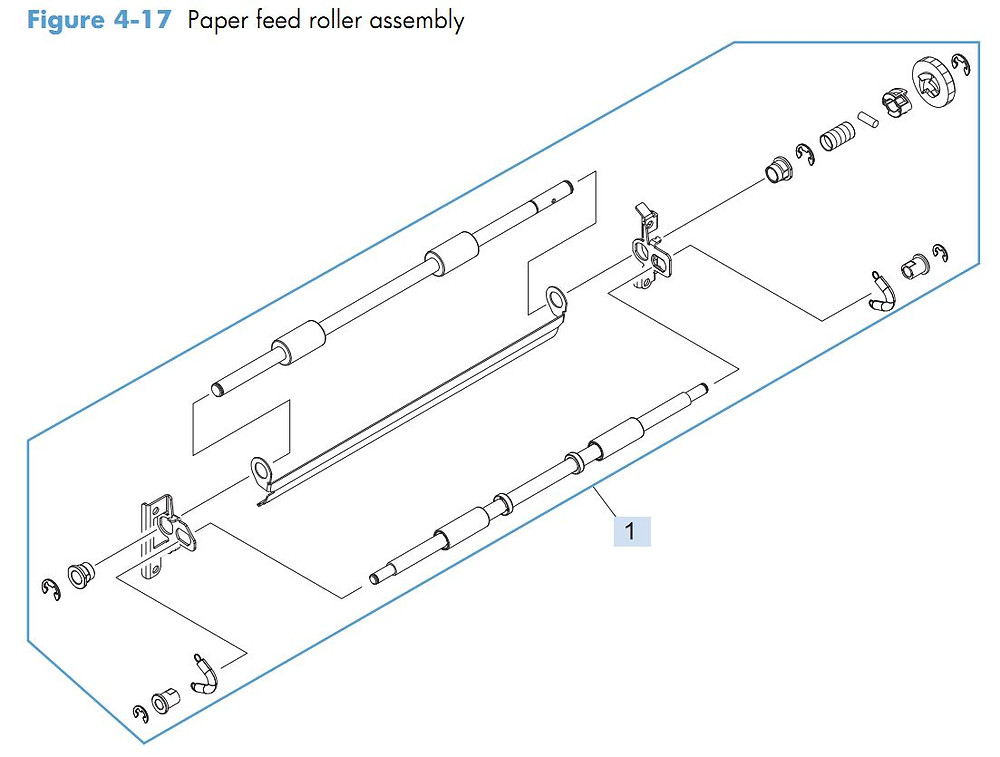 12. HP M4555 Paper feed roller assembly printer parts diagram