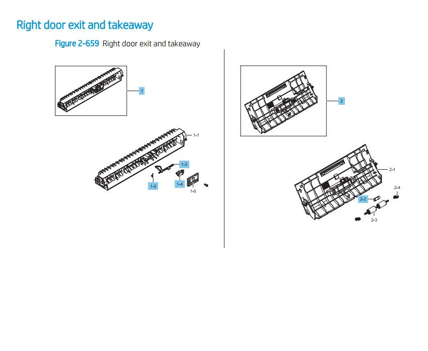 14. HP LaserJet E82540 E82550 E82560 Right Door Guide Assembly Printer Parts Diagram