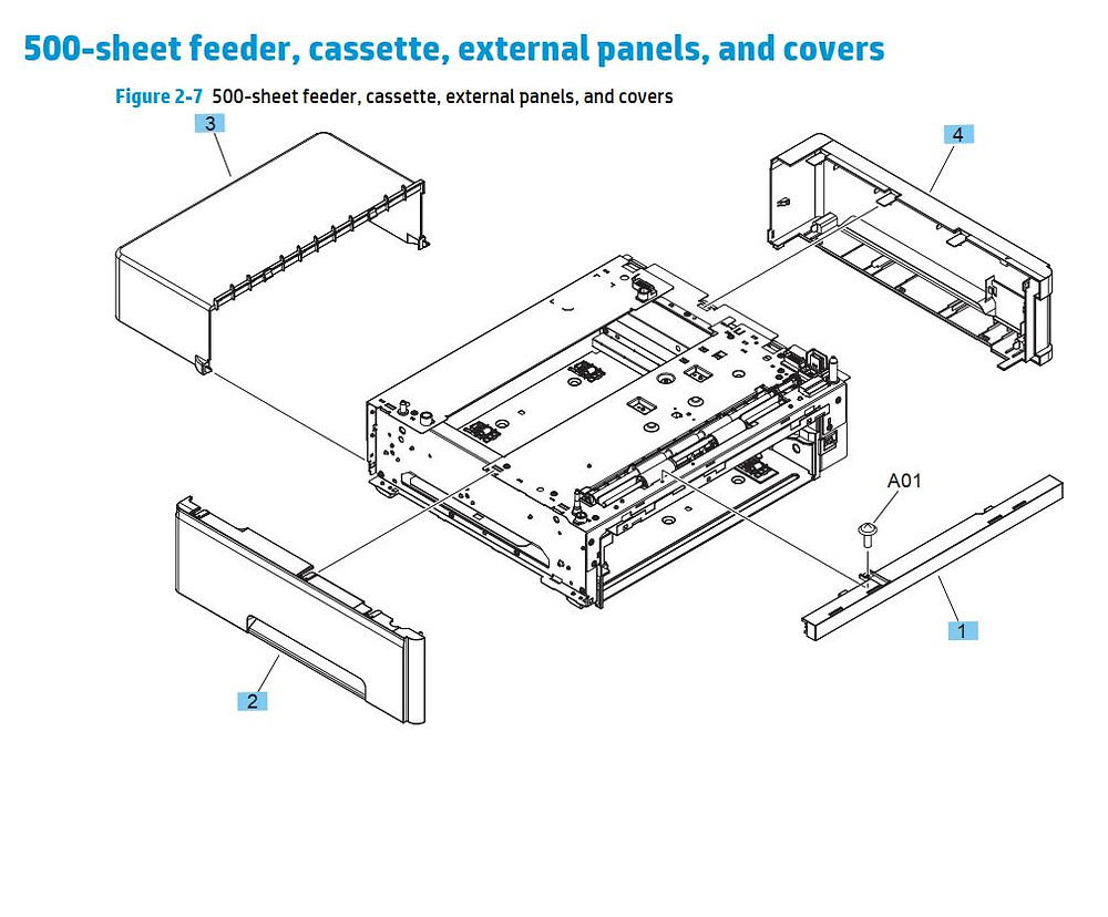 6. HP M701 M706 500 Sheet feeder cassette, external panels and covers  printer parts diagram