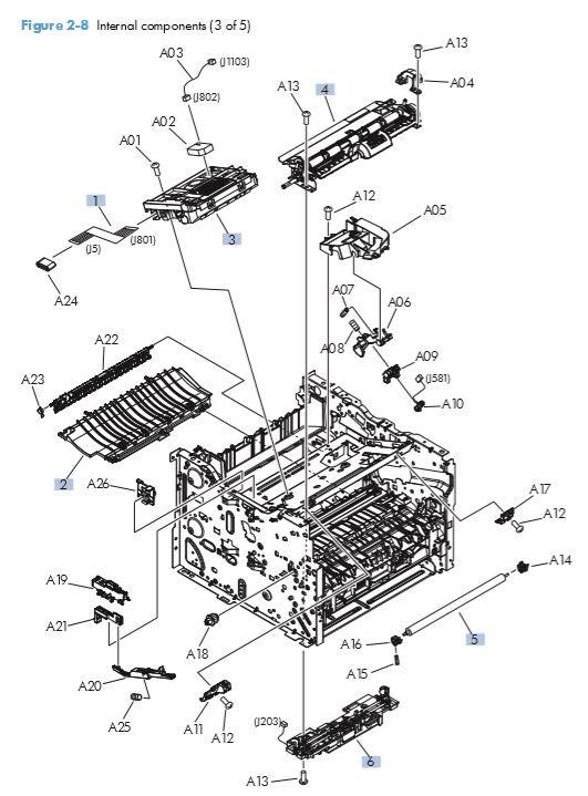 5. HP M401 M425 Internal assemblies 3 of 5 printer parts diagram