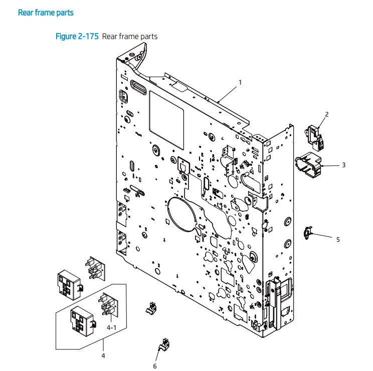 10. HP E72425 E72430 Rear frame parts printer parts diagram