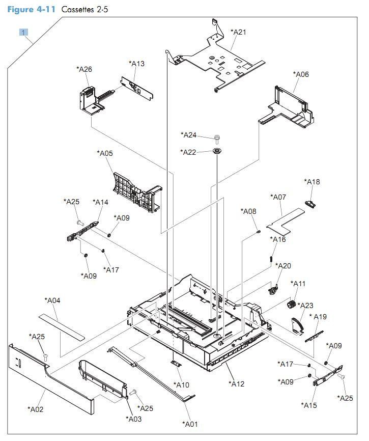 11. HP CM4540 Cassette 2-5 printer parts diagram