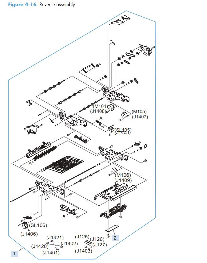 11. HP M4555 Reverse assembly printer parts diagram