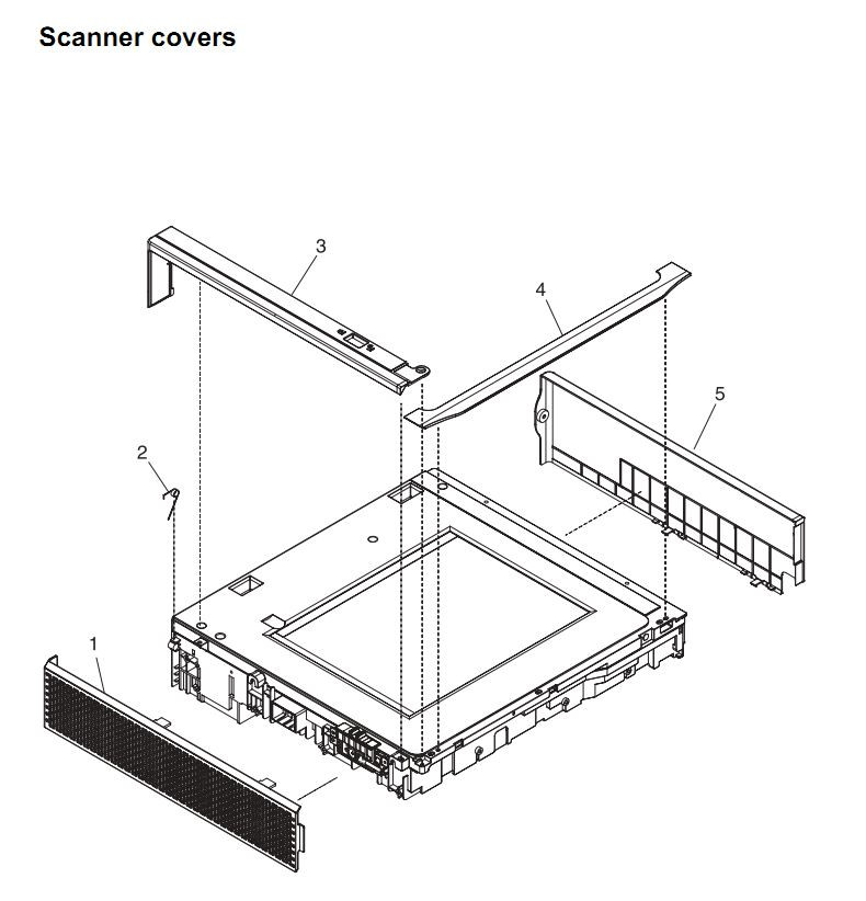 39. HP 4345 Q3942A 4345x Q3943A 4345xs Q3944A 4345xm Q3945A Scanner covers unit assembly Printer Part Diagrams