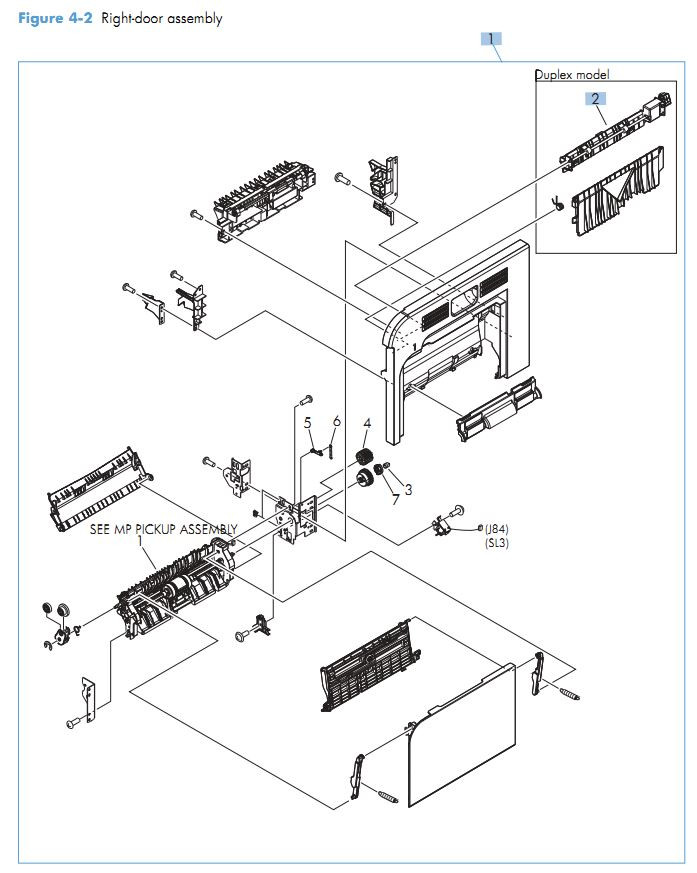 2. HP M551 Right door assembly printer parts diagram