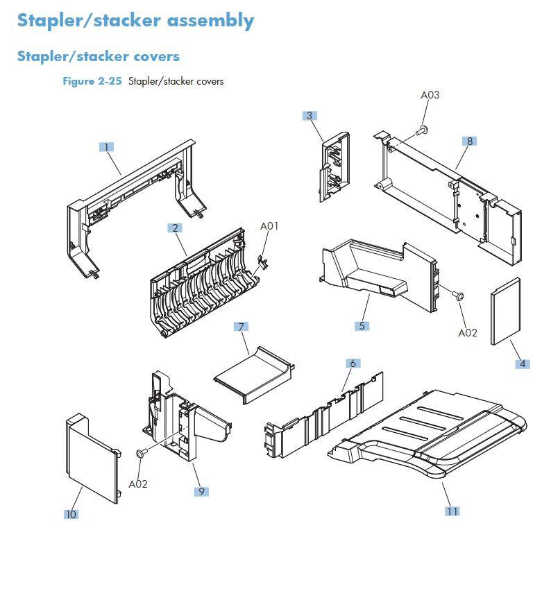18. HP M725 Stapler stacker assembly printer part diagrams