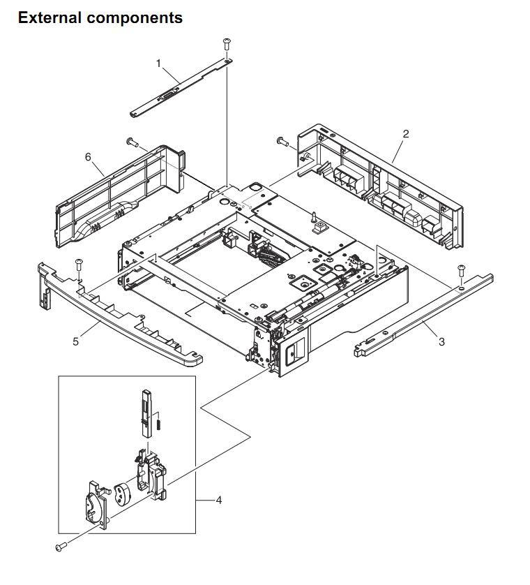 42. HP 4345 Q3942A 4345x Q3943A 4345xs Q3944A 4345xm Q3945A External locations Printer Part Diagrams