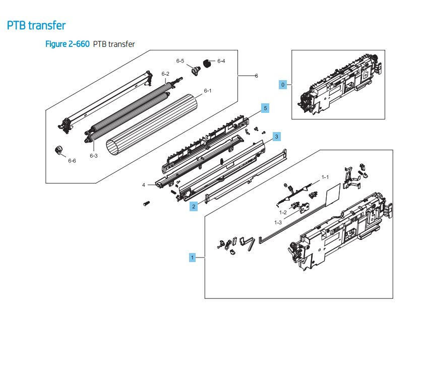 15. HP LaserJet E82540 E82550 E82560 PTB Transfer Assembly Printer Parts Diagram