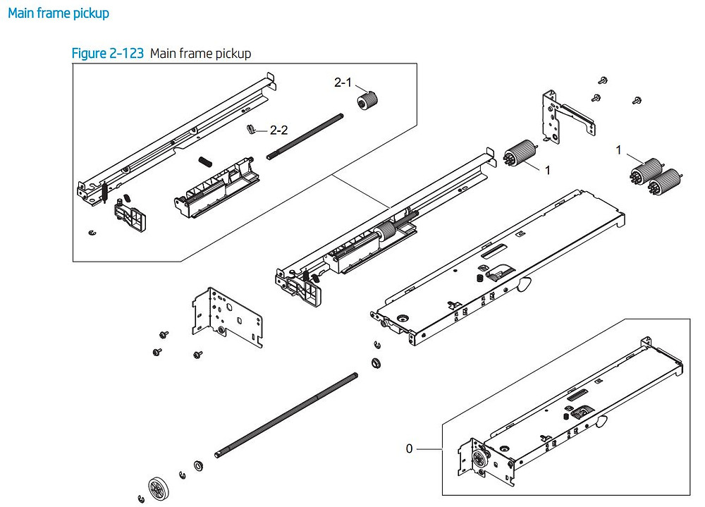 7. HP E72425 E72430 Main frame paper pickup printer parts diagram