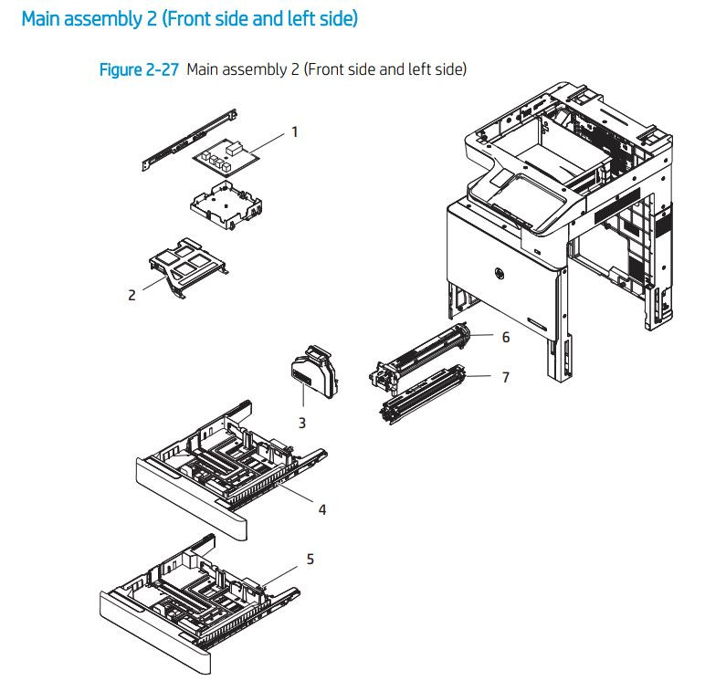 3. HP E72425 E72430 Main assembly 2 front/left side printer parts diagram