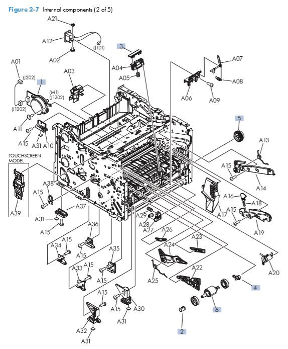 4. HP M401 M425 Internal assemblies 2 of 5 printer parts diagram