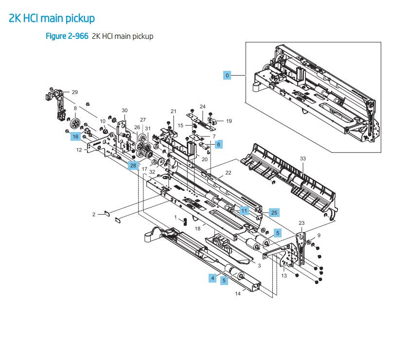 37. HP LaserJet E82540 E82550 E82560 2000 sheet main pickup HCI Printer Parts Diagram