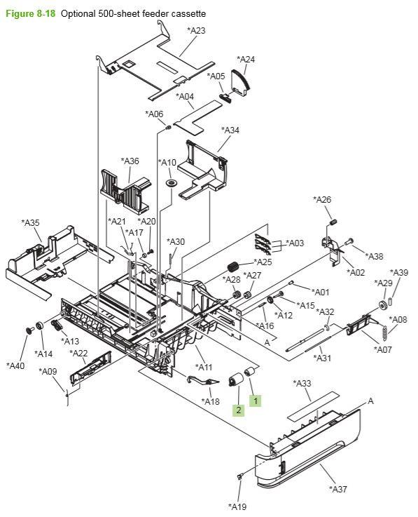 14) HP P4014 P4015 P4515 optional 500 cassette printer parts diagram