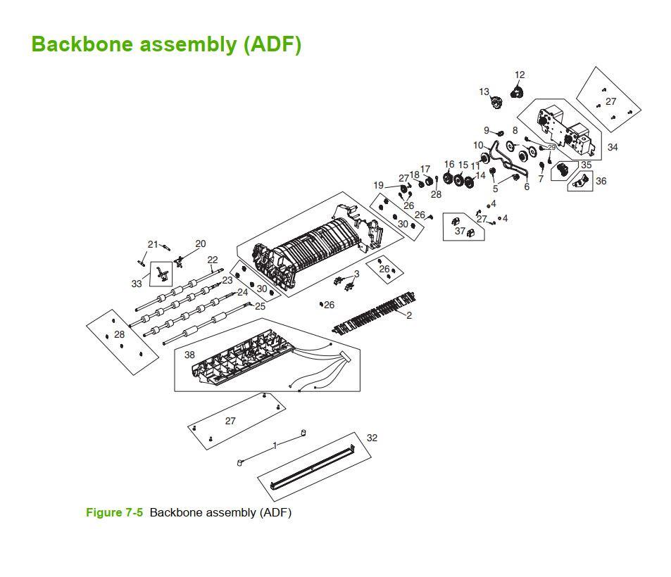 5. HP M5025 M5035 Backbone Assembly ADF printer part diagrams
