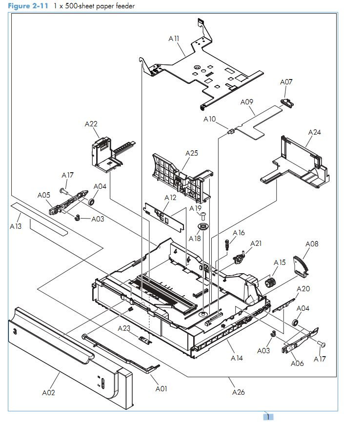 9. HP M570 1 x 500 sheet paper feeder printer parts diagram