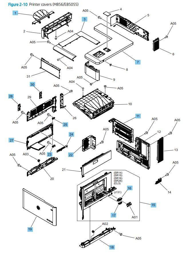 10. HP M856 E85055 Printer Covers printer parts diagram