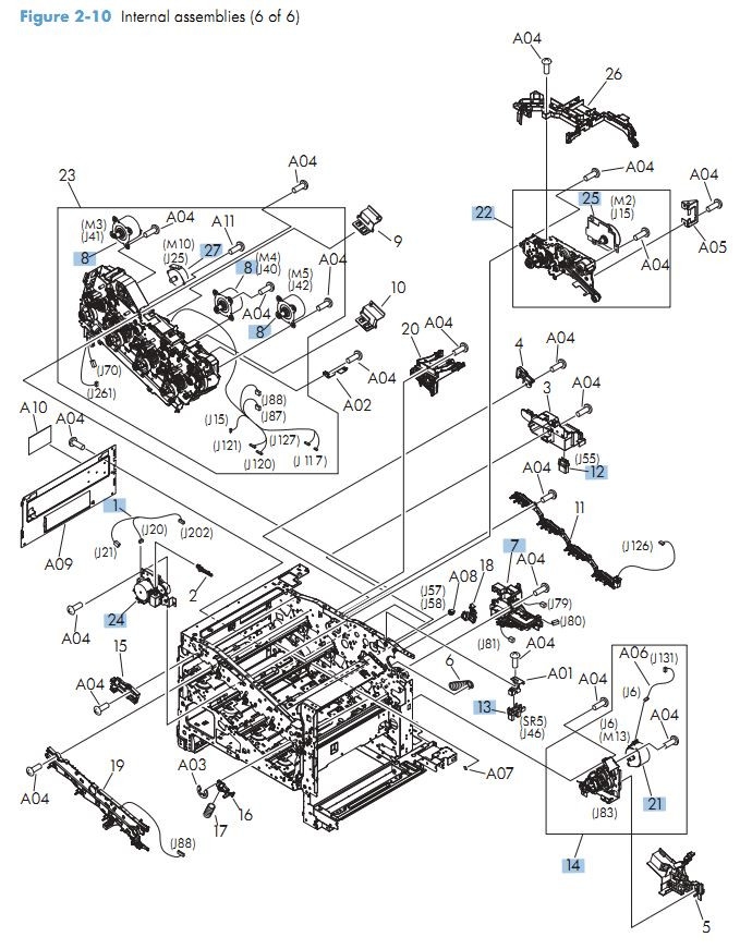 8. HP M570 Internal Components 6 of 6 printer parts diagram