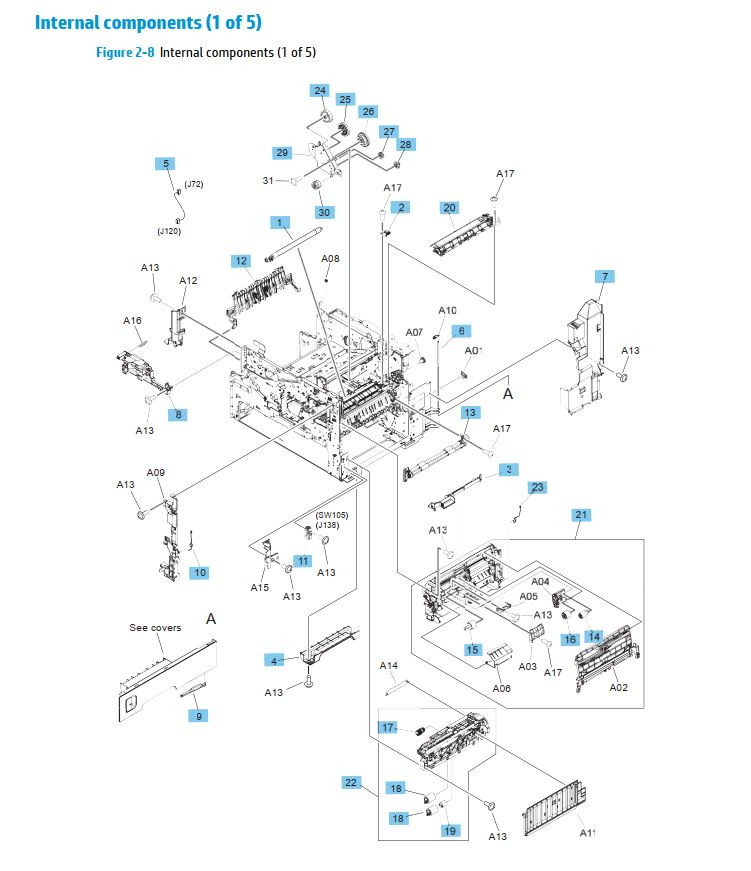 7. HP M630 Internal assemblies 1 of 5 printer parts diagram