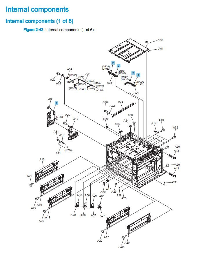 8. HP M880 M855 Internal components 1 of 6 printer part diagrams