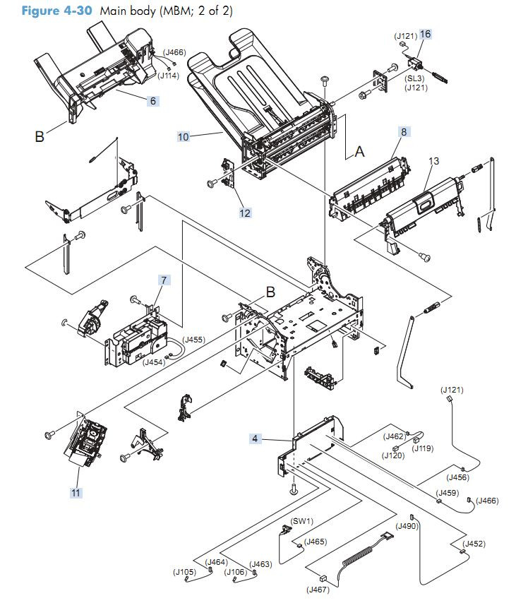 24. HP M4555 Main body MBM 2 of 2 printer parts diagram
