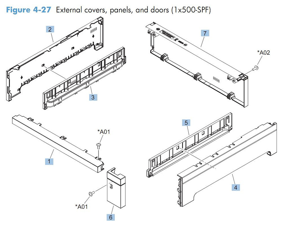 27. HP CM4540 500 sheet feeder external covers, panels and doors printer parts diagram