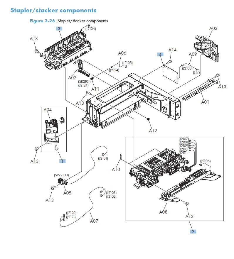 19. HP M725 Stapler stacker components printer part diagrams