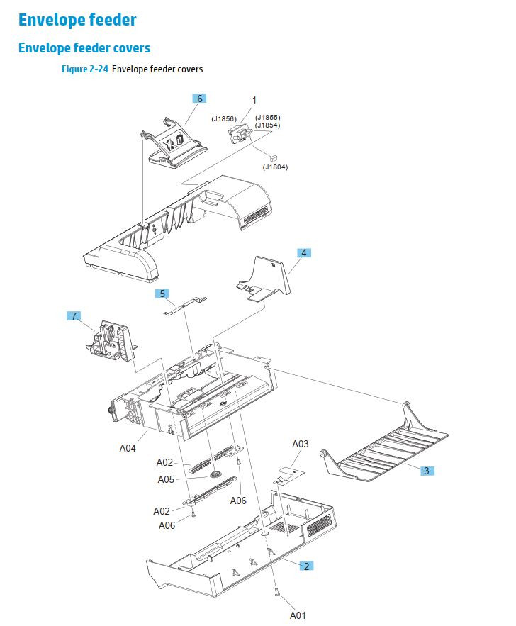 23. HP M630 Envelope feeder covers printer parts diagram