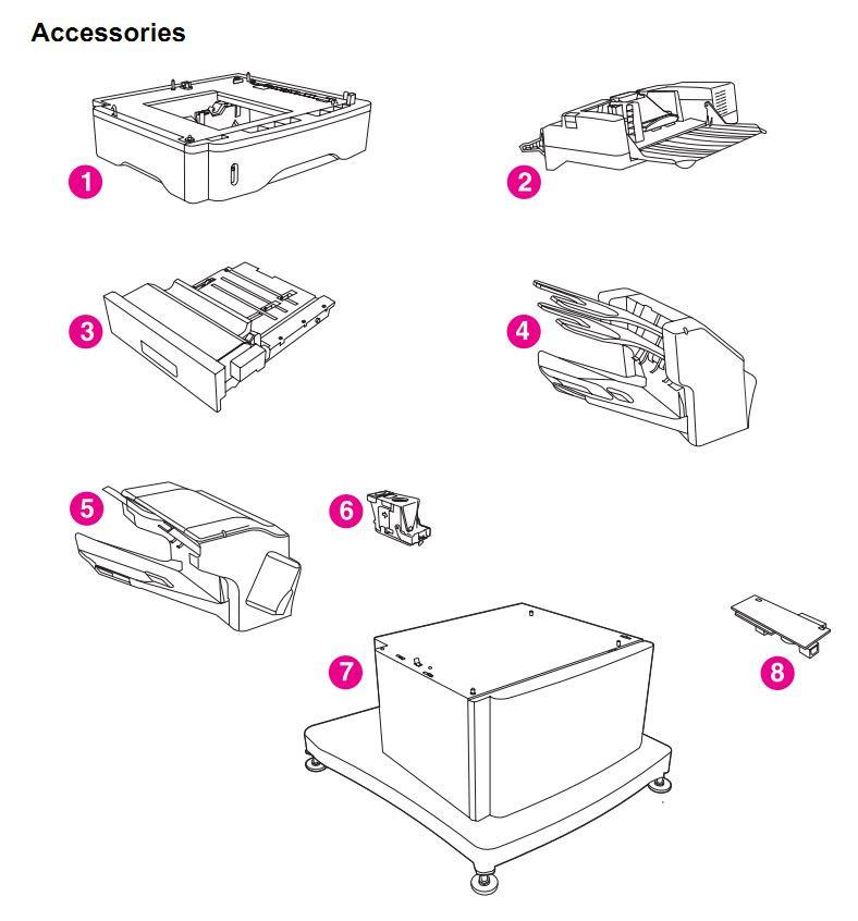 HP 4345 Q3942A 4345x Q3943A 4345xs Q3944A 4345xm Q3945A Accessories Printer Part Diagrams