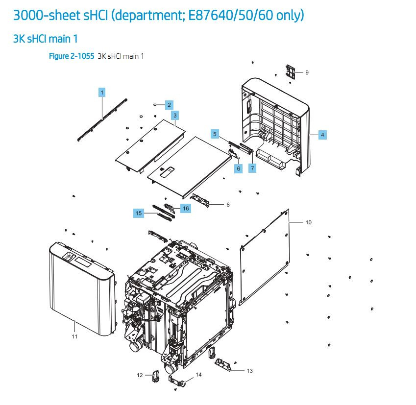 37. HP E87640 E87650 E87660 3000 sheet SHCI Cassette Feeder Main  Printer Part Diagrams